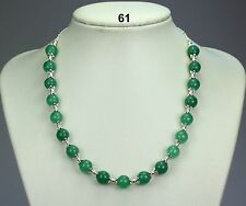 Simple green jade stone 10mm bead necklace, silver ball spacers, chain 19""
