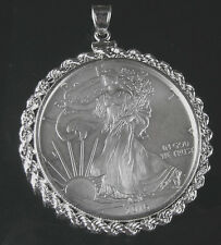 Coin Pendant 2016 1 oz. .999 American Silver Eagle in Sterling Silver Rope Bezel