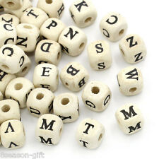"200PCs Natural Mixed A-Z Alphabet/ Letter Cube Wood Beads 10x10mm(3/8""x3/8"")"