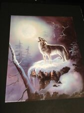 """Wolf Howling At Spirit Moon 16 X 20"""" Picture Print New In Lithograph"""