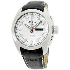 Alpina Silver Dial Black Leather Strap Men's Watch AL242S4RC6