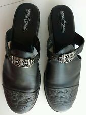 MinneTonka 9 Black Leather Embossed Toes Strap Buckle Mules Clogs