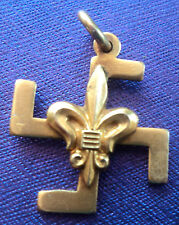 EARLY Boy Scout  9ct Gold Fylfot Thanks Badge -  c.1910