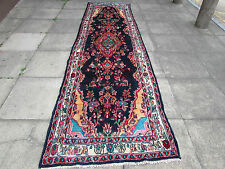 OLD HANDMADE PERSIAN Oriental Wool Navy Long Runner 389x112cm 13'x3'9""