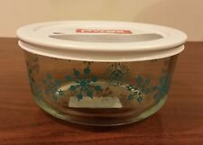 New Pyrex Turquoise Snowflakes 4 Cup Storage Glass Bowl Limited Edition HTF