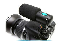 Black DV Stereo Microphone 3.5 jack for Canon Nikon Pentax DSLR Camera Camcorder