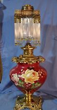 Antique Art Nouveau TALL Oil Banquet Lamp HP GWTW Tube Prisms Beads ASTRAL RAYO