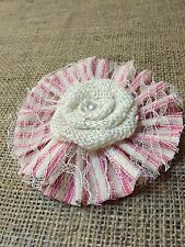 White Burlap Lace Flowers Pink Ticking Girl Baby Shower Wedding Country Table