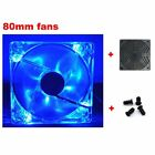 80mm Fans 4 LED Blue for Computer PC Case Cooling+Dust Filter+Screws