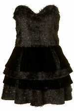 TOPSHOP UNIQUE BLACK TINSEL PROM PARTY DRESS 14 42 10 £250