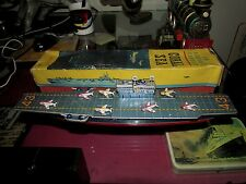 TIN TOY FRICTION AN AIRCRAFT CARRIER CORAL SEA 43 BANDAI JAPAN BOX