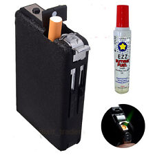 Automatic Cigarette Case & Butane Lighter Windproof Metal Box Holder