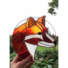 Stained Glass Red Fox Suncatcher Tiffany technique Glass Handmade Gift