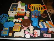HUGE lot vintage Fisher Price food, grocery cash register, basket, utensils,