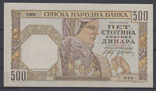 Serbia Germany occupation paper money bill of 500 Dinara 1941 VF