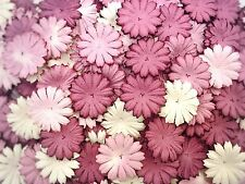 50 Mixed Purple Tone & White Daisy Flowers mulberry paper for Craft & DIY