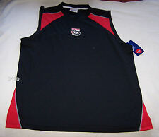 St Kilda Saints AFL Mens Black Red Printed Muscle Top Size L New