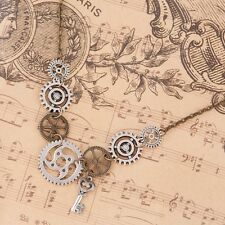 Vintage Stylish Antique Bronze Steampunk Gear Key Pendant Chain Necklace DIY