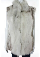 POLOGEORGIS White Gray Sleeveless Fox Fur Vest Jacket Sz S