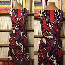 HOBBS dress UK10 silk wool red purple abstract pattern fitted waist knee