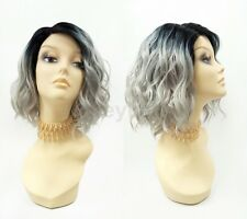 """Pre-Trimmed Lace Front Gray w/ Dark Roots Wavy Lob Wig Short Heat Resistant 12"""""""