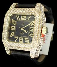 Icy Gold Finish Black Band Techno Pave Simulated Diamond HipHop Mens Bling Watch