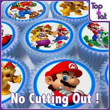 PRE-CUT 24 X SUPER MARIO EDIBLE PARTY CUP CAKE PAPER WAFER TOPPERS BIRTHDAY