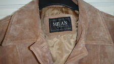 MILAN LEATHER LADIES 100% REAL SHEEPSKIN SUEDE JACKET CAMEL SIZE 16