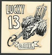 "VINTAGE ORIGINAL 1967 ED ROTH ""LUCKY 13 D.F.F.L."" HARLEY TRIKE WATER DECAL ART"