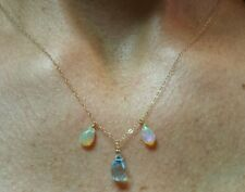 Briolette faceted Blue Topaz and tear drop Opal pendant necklace stamp 14k gold