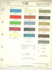 1970 AMC PPG  COLOR PAINT CHIP CHART JAVELIN AMX  MORE