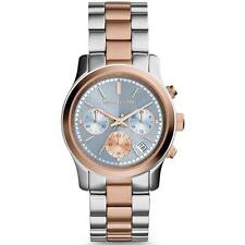 **NEW* LADIES MICHAEL KORS BLUE ROSE GOLD CHRONO 2 TONE WATCH MK6166 -RRP £259