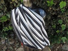 Nursing Cover Scarf Breastfeeding cover circle infinity scarf black gray stripe