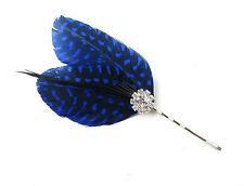 Bleu Noir Argent Plume Bandeau De Bibi Pince Cheveux Ascot Courses Vintage A67