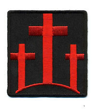 THREE CROSSES Christian Embroidered  MC Motorcycle red Biker Vest Patch