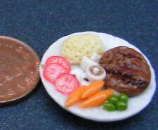 1:12 piccole BISTECCA & purè di patate su 2.5cm PIASTRA IN CERAMICA casa delle bambole in miniatura