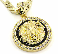 "Mens Gold Plated with Black Lion Face Iced Out Pendant 30""Necklace Figaro Chain"
