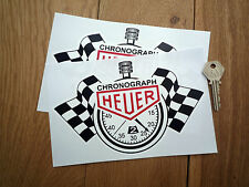 "HEUER Chronograph Stopwatch Classic Race Car STICKERS 8"" Pair Racing Rally F1"