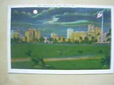 VINTAGE POSTCARD U.S.A.- SKYLINE BY NIGHT - MIAMI FLORIDA Ref 2093