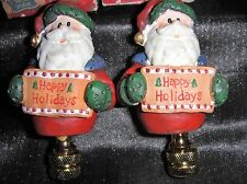 Set of 2 Holiday Friends lamp Finial~~New in Boxes ( Just Under 3 Inches)Ceramic