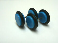 A PAIR BLUE ACRYLIC/ RUBBER  FAKE PLUG MENS  BARBELL EARRINGS 8MM.