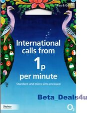 O2 NETWORK SIM CARD INTERNATIONAL PAY AS YOU GO MOBILE PHONE NUMBER UK ON 02 NEW