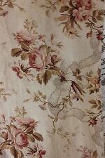 """French Antique 19th Century Cabbage Rose & Lace Home Fabric c1880~3yds10""""LX15""""W"""