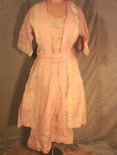 Vintage Edwardian Dress PINK Cotton Sailor Summer Dress LACE Antique M GC