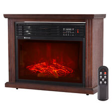 """28"""" Free Standing Electric Fireplace 1500W Glass View Log Flame Remote Home New"""