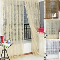 Voile Slot Top Net Curtain Flower Window Bedroom Curtains New