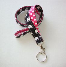 Lanyard Id Holder Key Leash badge holder navywhite elephants pink dots