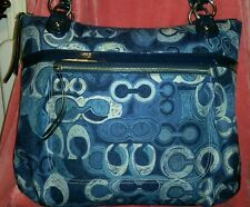 COACH POPPY POP C DENIM PRINT SIGNATURE GLAM TOTE #1220•19881