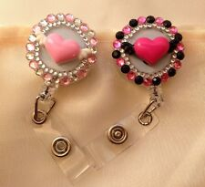 Rhinestones Bling Pink Heart Valentine's  Retractable Reel ID Badge Holders 2ps