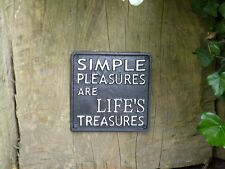 Cast Iron Garden Sign Vintage Metal Painted Black SIMPLE PLEASURES Plaque Gift
